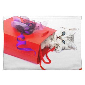 Young cat lying in red bag with decoration place mat