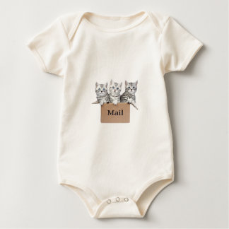 Young cats in cardboard box with word Mail Baby Bodysuit