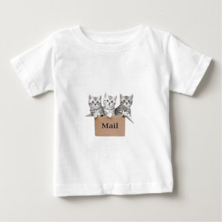 Young cats in cardboard box with word Mail Baby T-Shirt