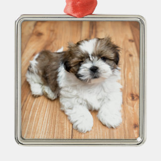 Young Chi Chu dog lying on parquet floor Metal Ornament