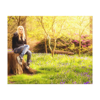 Young cool woman relaxing at spring time canvas print