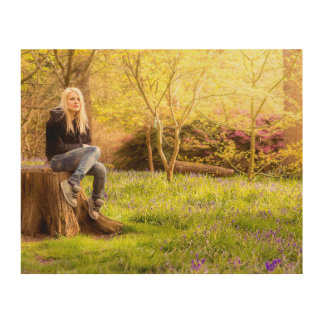 Young cool woman relaxing at spring time wood wall art