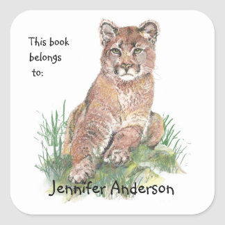 Young Cougar Watercolor Animal  Custom Bookplate Square Sticker