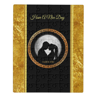 Young couple black silhouette kissing one another jigsaw puzzle