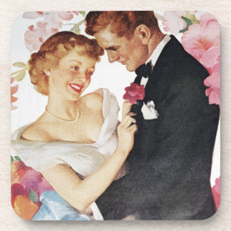 Young couple in formal wear coasters