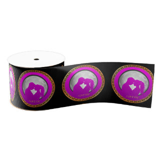 Young couple pink silhouette kissing one another grosgrain ribbon