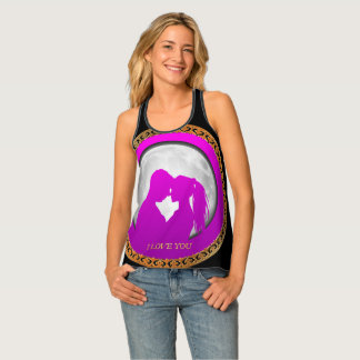 Young couple pink silhouette kissing one another singlet