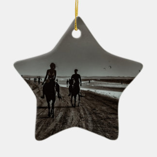 Young Couple Riding Horses at the Beach Ceramic Ornament