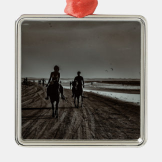 Young Couple Riding Horses at the Beach Metal Ornament