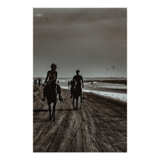 Young Couple Riding Horses at the Beach Stationery