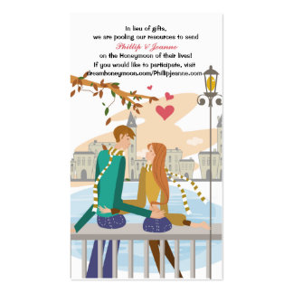 Young Couple's Dream Honeymoon Request Insert Pack Of Standard Business Cards