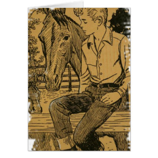 Young Cowboy and His Horse Card