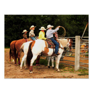 Young Cowboys Horse Western Rodeo Poster Photo Art