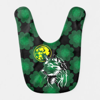 young dreaming wolf baby bib