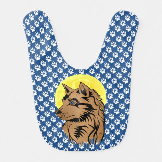 young dreaming wolf bib