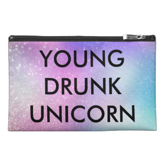Young Drunk Unicorn funny quote glitters ombré Travel Accessory Bag