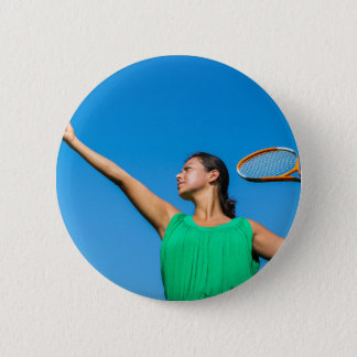 Young dutch woman with tennis racket and ball 6 cm round badge