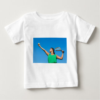 Young dutch woman with tennis racket and ball baby T-Shirt