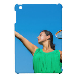Young dutch woman with tennis racket and ball iPad mini cover