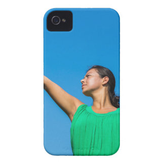 Young dutch woman with tennis racket and ball iPhone 4 case