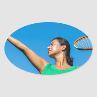Young dutch woman with tennis racket and ball oval sticker