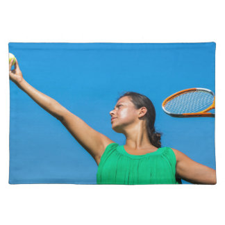 Young dutch woman with tennis racket and ball placemat
