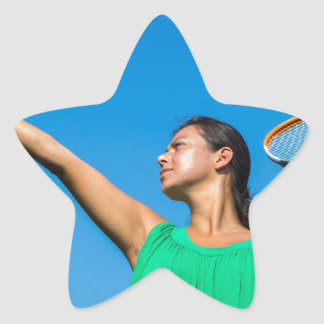 Young dutch woman with tennis racket and ball star sticker