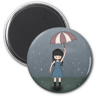 Young Emo Girl Standing in the Rain with Umbrella 6 Cm Round Magnet