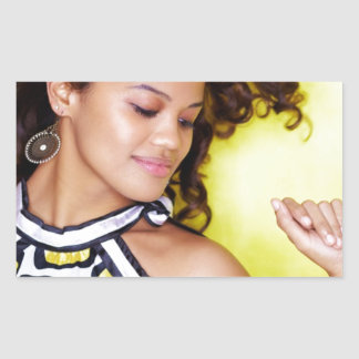 Young Exotic Woman Yellow Dance Rectangular Stickers