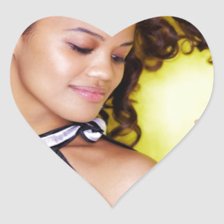 Young Exotic Woman Yellow Dance Heart Stickers