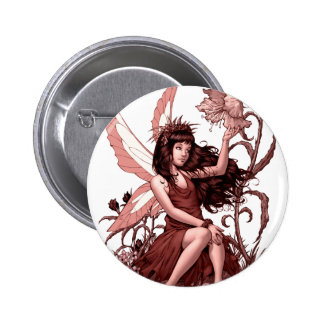 Young Fairy with Flowers by Al Rio Pinback Buttons