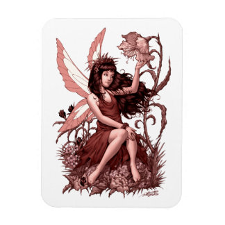 Young Fairy with Flowers by Al Rio Rectangular Photo Magnet
