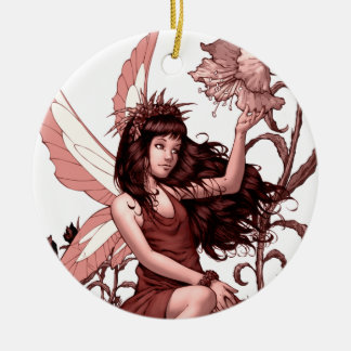 Young Fairy with Flowers by Al Rio Round Ceramic Decoration