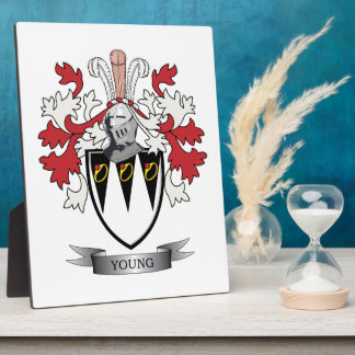 Young Family Crest Coat of Arms Plaque