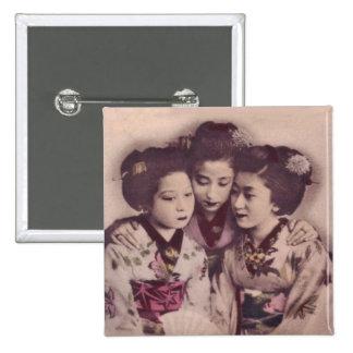 Young Geisha girls 15 Cm Square Badge