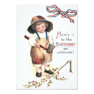 Young George Washington Chopping Down Cherry Tree 13 Cm X 18 Cm Invitation Card