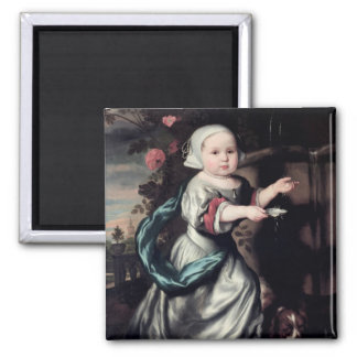Young girl at a fountain, 1662 square magnet