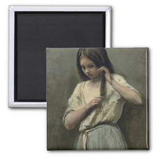 Young Girl at her Toilet Square Magnet