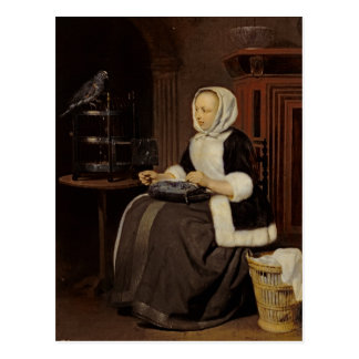Young Girl at Work Postcard