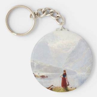 Young Girl Beside the Fjord Key Ring