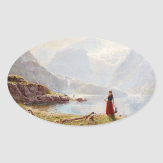Young Girl Beside the Fjord Oval Sticker