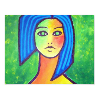 Young Girl by Piliero 11 Cm X 14 Cm Invitation Card
