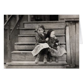 Young Girl Caring for her Sister, 1911 Card