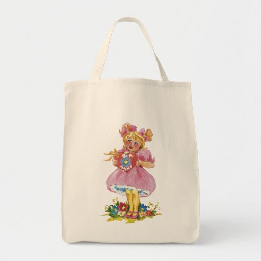 Young girl flowers heart - bag