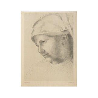 Young girl, Odilon Redon, 1887 Wood Poster