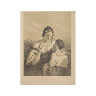 Young girl speaks to Isaac Cornelis Elink Strong, Wood Poster