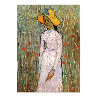 Young Girl Standing at Wheat Fields - van Gogh 13 Cm X 18 Cm Invitation Card