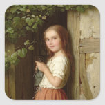 Young Girl Standing in a Doorway Knitting, 1863 Square Sticker