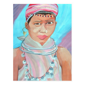 Young Girl Watercolor Painting Postcard