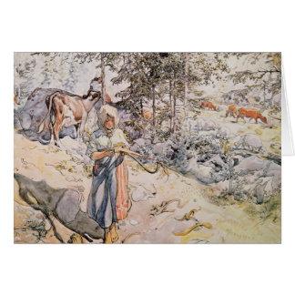 Young Girl Weaving, 1905 Card